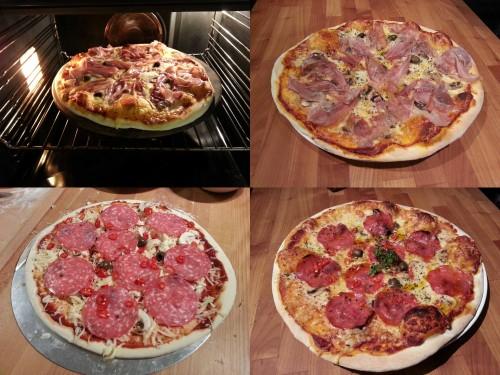 Helgens två pizzor, under tillagning och slutresultatet
